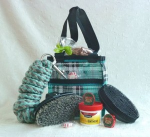 teal tote and tweed lead
