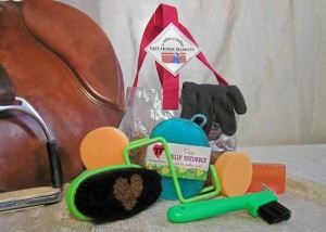 green grooming tools with clear tote