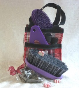 red tote with purple grooming tools