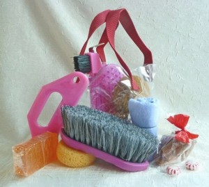 vinyl tote with pink tools